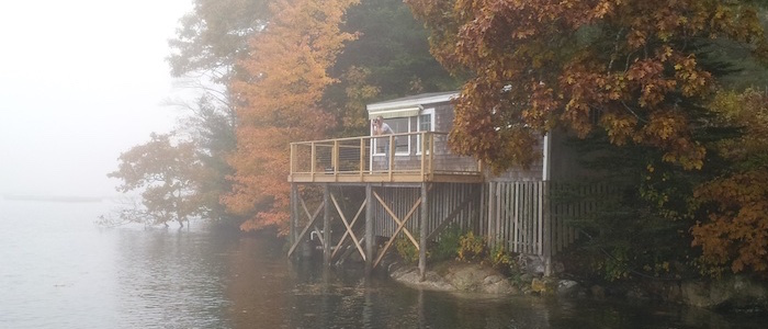 The Wharf Cottage at Harborfields with Fall Foliage