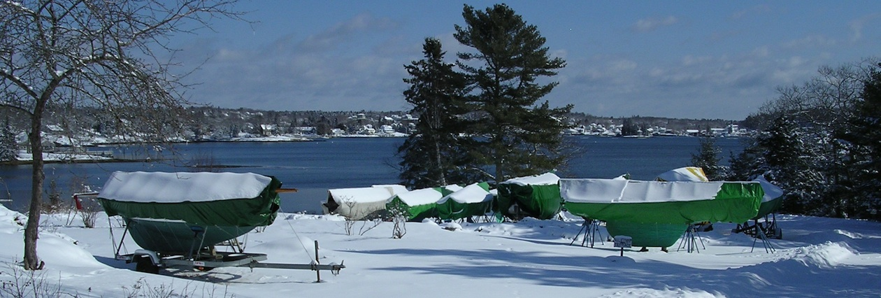 Winter Boat Storage at Harborfields Cottages, Boothbay Harbor, Maine